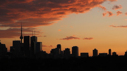 Toronto Orange Sunset. Timelapse.
