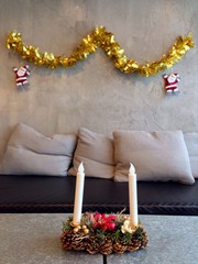 The living room decorate with christmas item
