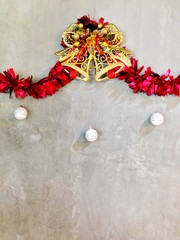 The concrete wall decorate with christmas item