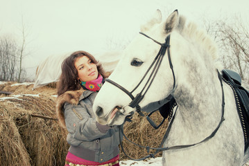 beautiful girl-gypsy with horse.