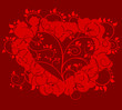 Vector heart with red floral background