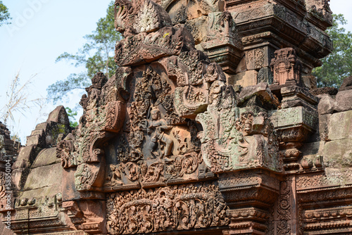 Carving of mandapa at Banteay Sreiz, Cambodia