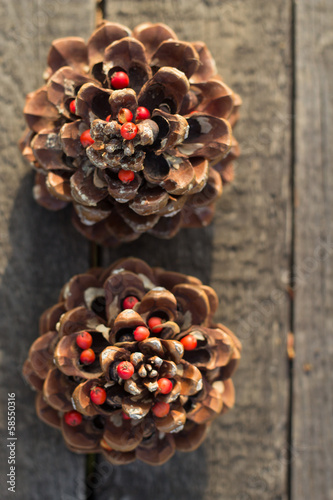 Christmas Decoration Over Wooden Background. Vintage