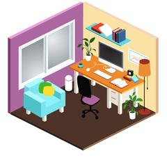 Isometric Isolated Office Room