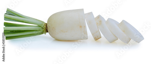 Close up Radishes isolated on white background