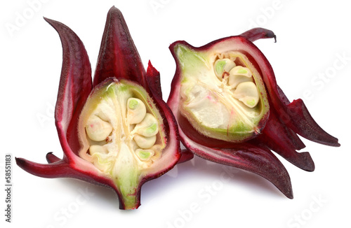 Roselle fruits Thailand use for made local sweet juice on white
