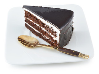 chocolate cake with chocolate cream decoration
