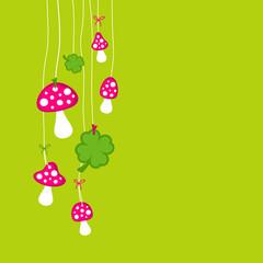 Hanging Flyagarics & Cloverleafs Pink/Green