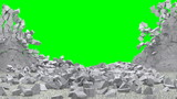 Animation of Broken Concrete Wall with Green Screen