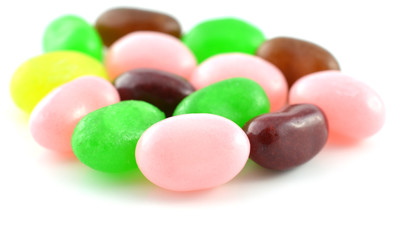 Multicolored pile of jelly beans for background image closeup