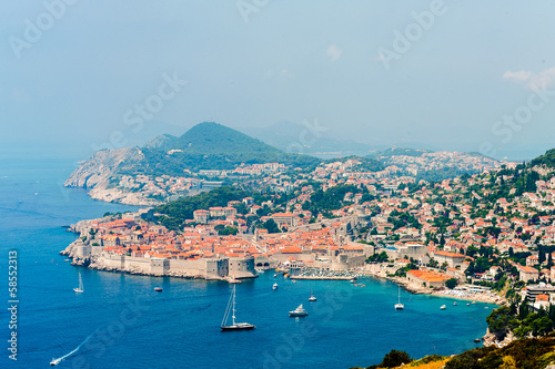 View of the old town of Dubrovnik on hazy day