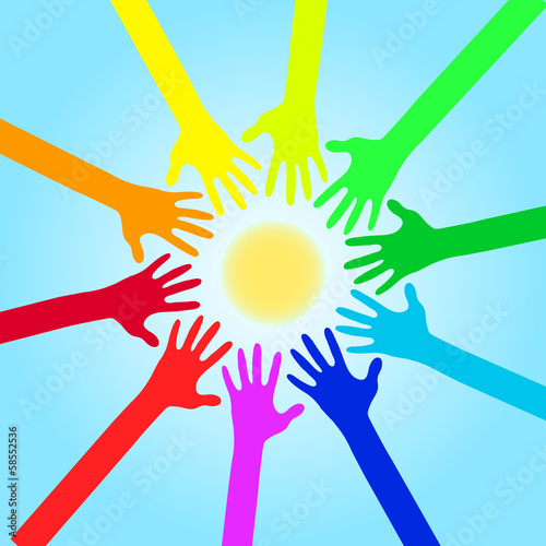 Colorful Hands Against Sun And Sky  - Vector Illustration