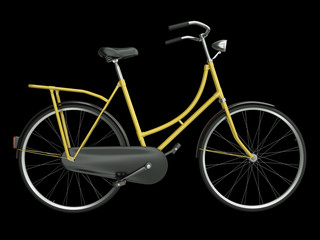 Yellow bicycle isolated on a black background