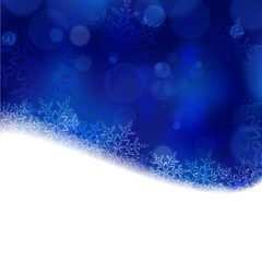 Blue Christmas, winter background with blurry lights
