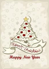 ozdobiona choinka świąteczna ilustracja z życzeniami