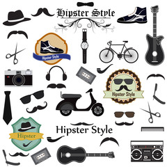 vector illustration of Hipster Style element set