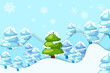 vector illustration of snowy pine tree in hilly landscape