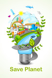 vector illustration of green light eco concept