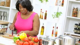 Ethnic Lady Slicing Vegetables Healthy Lifestyle