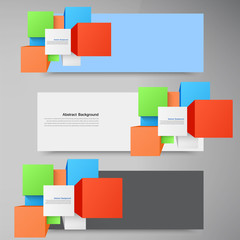 Vector abstract background. Square and 3d object