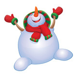 Vector happy snowman isolated.