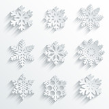 Snowflakes shape vector icon set. Creative snow design poster
