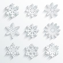 Płatki śniegu zestaw ikon wektorowych kształtu. Kreatywne projekty śnieg