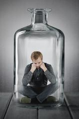 gefangen in einer Flasche