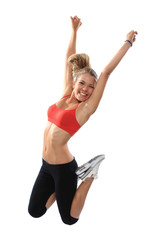 Weight loss fitness woman jumping