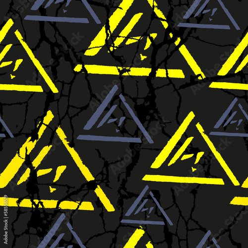 Grunge seamless pattern with yellow lightning