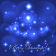 Merry Christmas card with blue glowing flares