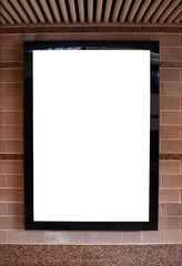 Empty billboard on marble wall