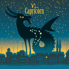 Capricorn sign in the starry sky night city
