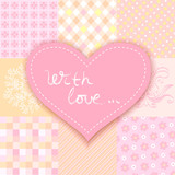 patchwork heart. romantic background patchwork