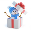 Blue snowman jumps out of a gift box
