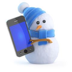Blue snowman has a smartphone