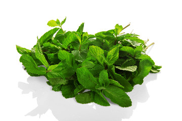 Heap of green fresh spearmint with water drops