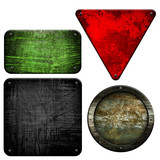rusty metal plate set (isolated with clipping path)