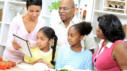 African American Girls Grandparents Home Kitchen