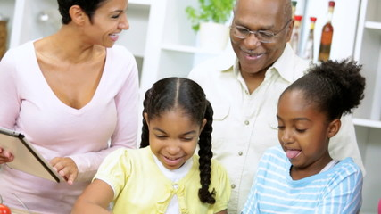 African American Family Kitchen Tablet Food Websites