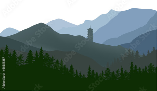 pagoda and forest in mountains