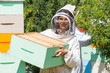 Portrait Of Beekeeper Working At Apiary
