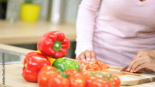 Hands Ethnic Mother Young Daughter Kitchen Slicing Vegetables