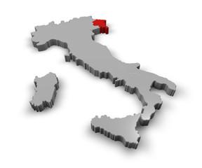 Cartina Italia 3d regioni Friuli Venezia Giulia
