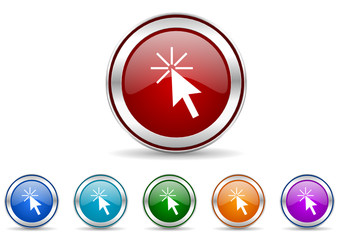click here icon vector set
