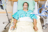 Patient With Endotracheal Tube Resting In Hospital