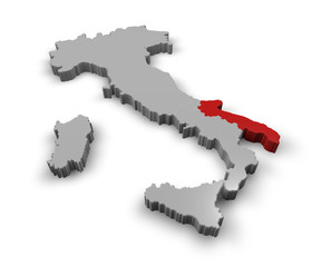 Cartina Italia 3d regioni Puglia