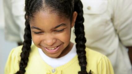 Portrait Little Ethnic Girl Helping Family Kitchen
