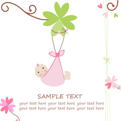 Newborn baby arrival card with  clover, heart and flower vector