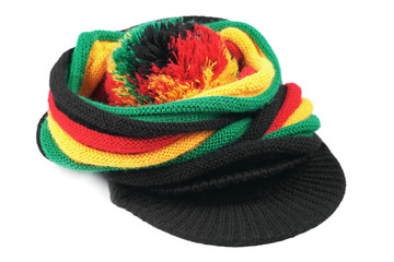 Rastafarian hat isolated on white background